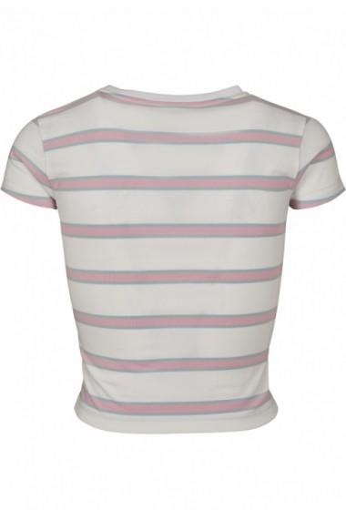Tricou scurt cu dungi pentru Femei alb-girlypink Urban Classics