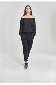 Salopeta Cold Shoulder Terry pentru Femei negru Urban Classics