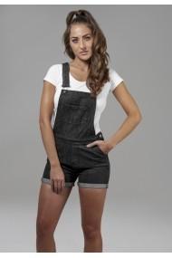 Salopeta blugi scurta femei negru-washed Urban Classics