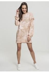 Rochie Camo cu volane Crew pentru Femei rose-camuflaj Urban Classics