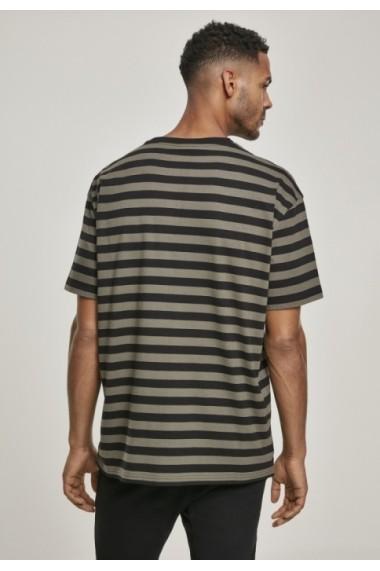 Tricou dungi supradimensionat fire colorate Bold oliv-negru Urban Classics