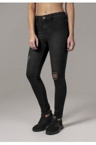 Blugi urban cu talie inalta Skinny pentru Femei negru-washed Urban Classics