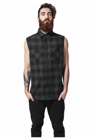 Sleeveless Checked Flanell Shirt