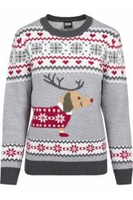 Pulover Craciun Sausage Dog pentru Femei gri-alb Urban Classics