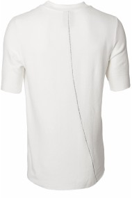 Tricou bumbac alb organic greutate medie cu broderie spate si umar