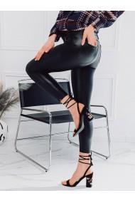 Pantaloni piele ecologica femei PLR063 - negru