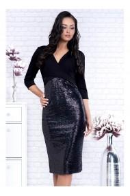 Rochie neagra cu bustul petrecut si fusta din paiete - Lisa 91575ng