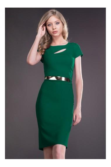 Rochie verde cu decupaj si curea in talie Ecaterina 81182VD