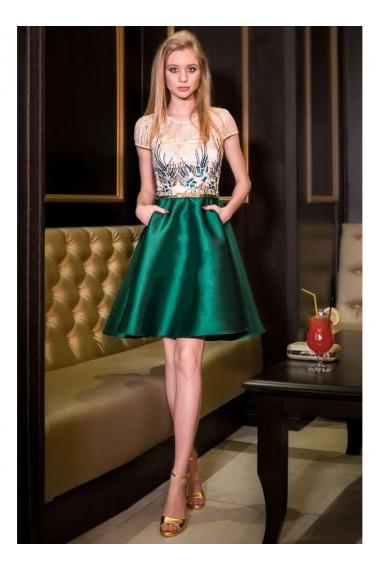 Rochie verde smarald cu tull brodat Angela 71917vd