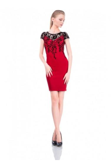 Rochie rosie cu imprimeu de catifea Adria 61641R