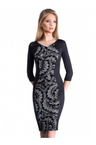 Rochie neagra cu imprimeu de catifea Delicia 61780N