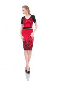 Rochie rosie cu imprimeu de catifea Fely 61638R