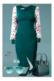 Rochie verde cu maneci din voal Amal 11905vd