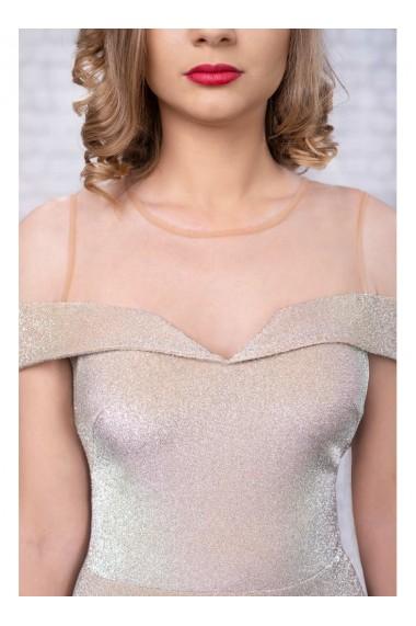 Rochie argintie din lycra cu fir lame - Kate 91409ARG