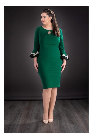 Rochie verde cu Cristal Swarovski si maneci clopot - Akiko 81117V