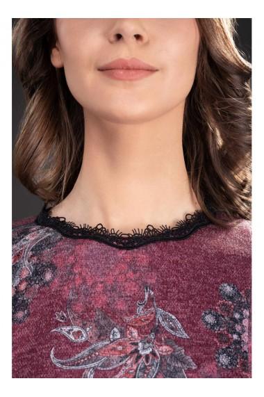 Rochie din tricot imprimat cu maneci din dantela Lety 81327BD