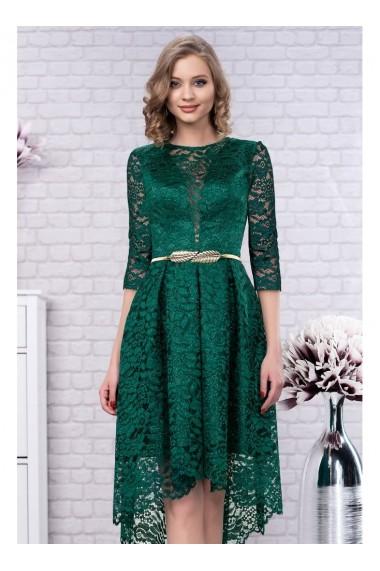 Rochie verde din dantela cu trena si maneci 3/4 Jade 91416vdL