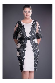 Rochie negru cu bej din dantela si stofa Filomela R81162N