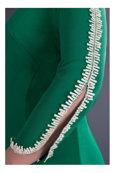Rochie bordo din stofa cu detalii din dantela pe maneci - Otilia 81227BD