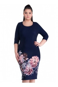 Rochie bleumarin cu imprimeu floral Adrya 81120BLM