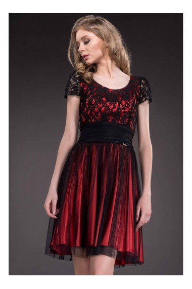 Rochie rosu cu negru Denys 51437NR