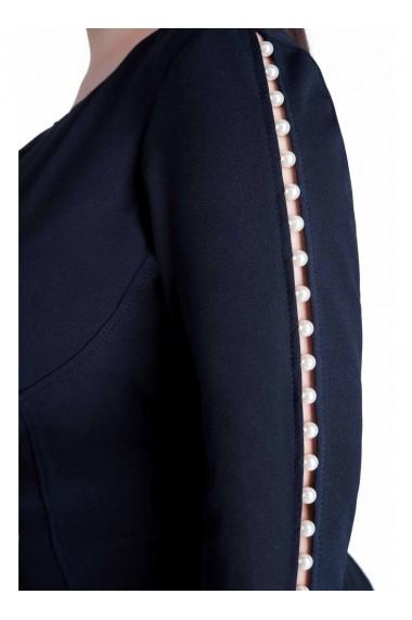 Rochie bleumarin cu perle pe maneca - Laurentia 81118BLM