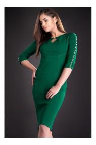 Rochie verde cu perlute pe maneci Laurentia 81118V