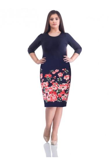 Rochie bleumarin cu imprimeu floral Julie X71891BLM