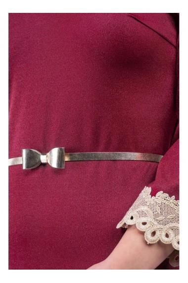 Rochie bordo cu dantela aurie si curea Iolanda X71046MS