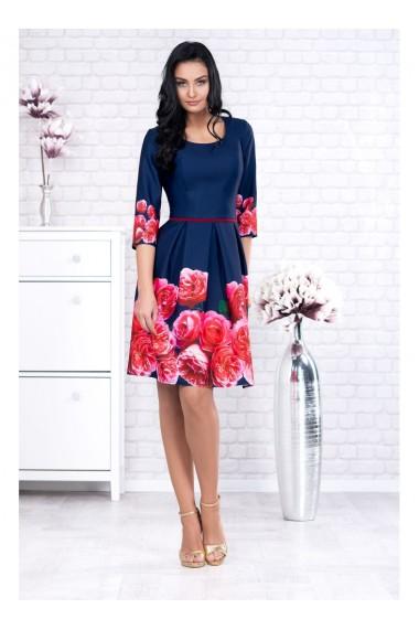 Rochie bleumarin cu imprimeu floral Codruta X91601blm