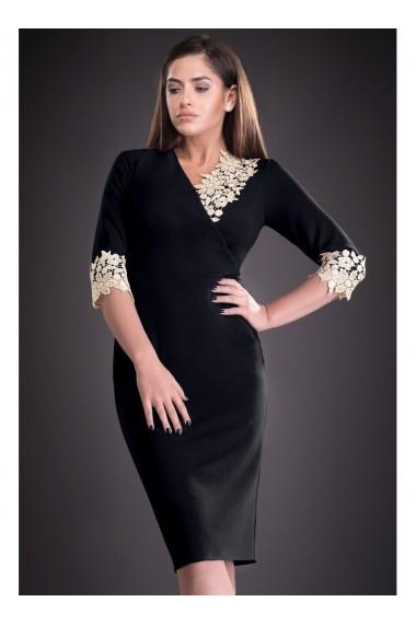 Rochie neagra cu dantela Mirela 81251N