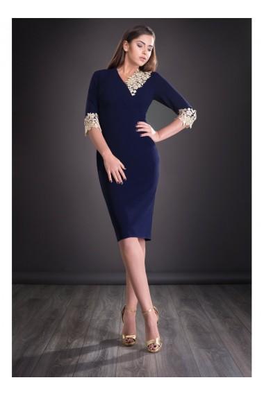 Rochie bleumarin cu dantela Mirela 81251BLM