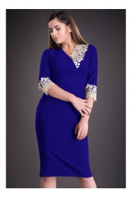 Rochie albastru royal cu dantela Mirela 81251AB