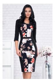 Rochie din stofa elastica cu imprimeu floral-Sore 91594R