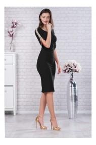 Rochie neagra din stofa elastica cu detalii din dantela pe maneci - Otilia X81227N