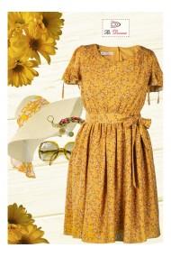Rochie galbena cu imprimeu floral Aleina X81190GM