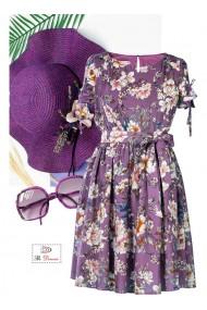 Rochie mov cu imprimeu floral Aleina 81190MV