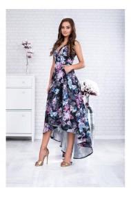 Rochie asimetrica cu imprimeu floral si curea in talie Denerys 91418N