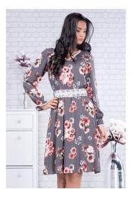 Rochie gri cu imprimeu floral Peregrina 91522G