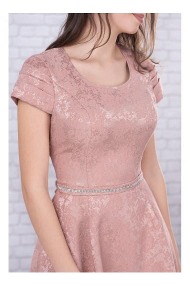Rochie roz pudra din jacquard si curea din strasuri Maribela 11814RP