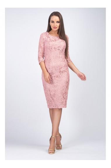 Rochie roz pudra din dantela cu fir lame - Marlo X81000RZP