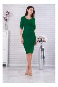 Rochie verde din stofa elastica cu detalii aurii pe maneci - Otilia X81227VD