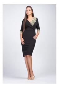 Rochie neagra din stofa elastica cu dantela aurie - Mirela 81251N2