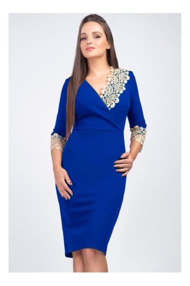 Rochie albastru royal din stofa elastica cu dantela aurie Mirela 81251ROY