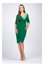 Rochie verde din stofa elastica cu dantela aurie Mirela 81251VD