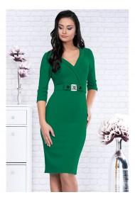 Rochie eleganta verde din stofa elastica cu decolteu Dulce 91549VD