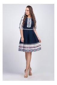 Rochie bleumarin cu motive traditionale Alexandra B91381BLM