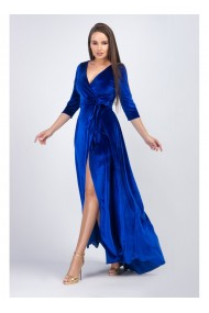 Rochie lunga din catifea albastru royal - Renee 11923ABR