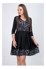 Rochie neagra cu imprimeu si fusta cu piuri Darya B11822