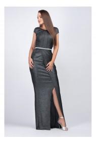 Rochie lunga din lurex negru Adriana 91444NGR